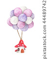 Mushroom house hanging with colorful balloon 44489742
