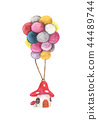 Mushroom house hanging with colorful balloon 44489744