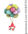 Mushroom house hanging with colorful balloon 44489745