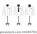 set of white shirts with tie, bow-tie on stand, hanger, front view. Atelier, boutique, realistic 44489794