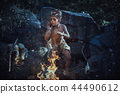 Shamans boy at the fire 44490612