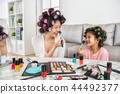 mom and little girl doing makeup together at home 44492377
