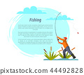 Fisherman with Fishing Rod among Bulrush Vector 44492828
