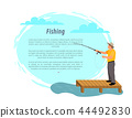 Fisherman with Fishing Rod on Platform Vector Icon 44492830