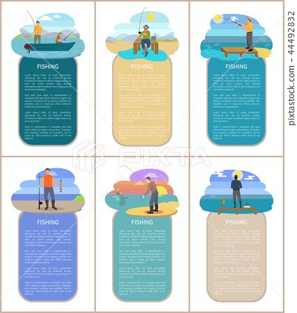 Fishing Hobby of Men Posters Vector Illustration 44492832