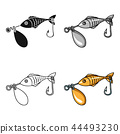 Fishing bait icon in cartoon style isolated on white background. Fishing symbol stock vector 44493230