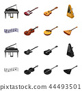 Musical instrument black,cartoon icons in set collection for design. String and Wind instrument 44493501
