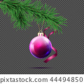 3D realistic christmas ball with fir branch 44494850