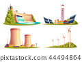 cartoon power stations isolated set 44494864