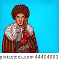 illustration of medieval mage with staff 44494903