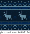 Christmas knitted pattern. Winter geometric. 44495194