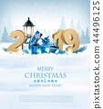Merry Christmas Background with 2019 and gift box 44496125