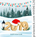 Christmas holiday background with 2019  44496126