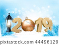 New Year background with a 2019 and ball. Vector. 44496129