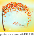 Autumn Background With Colorful Leaves. Vector 44496130