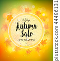 Enjoy Autumn Sale background with autumn leaves 44496131