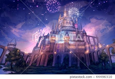 城堡_夜景背景幻想 44496310