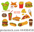 Fast Food Dishes Collection Vector Illustration 44496458