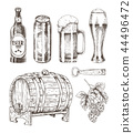 Beer and Ale Collection Isolated on White Backdrop 44496472