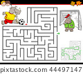 cartoon maze activity with rhino playing soccer 44497147