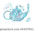teapot vector floral 44497641