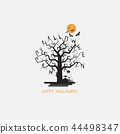 Full moon & Big tree Halloween abstract vector 44498347