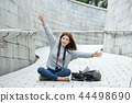 Young woman, College student, Korea, Travel, Stone wall, Camera, Seoul 44498690