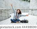 年轻的女人,大学生,韩国,旅行,石墙,相机,首尔 44498690