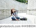 年輕的女人,大學生,韓國,旅行,石牆,相機,首爾 44498694