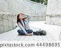 年輕的女人,大學生,韓國,旅行,石牆,相機,首爾 44498695