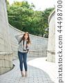 年輕的女人,大學生,韓國,旅行,石牆,相機,首爾 44498700