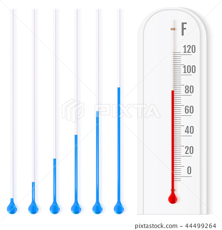 Realistic liquid thermometer with fahrenheit scale, red and blue 44499264