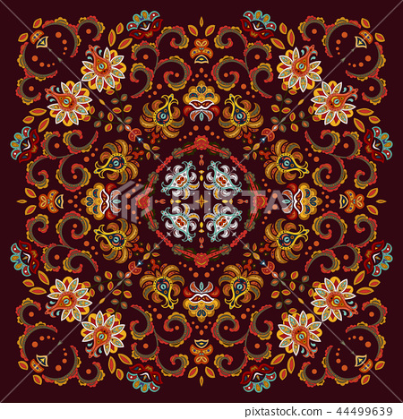 authentic silk neck scarf or kerchief square pattern design in eastern style for print on fabric 44499639