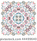 authentic silk neck scarf or kerchief square pattern design in eastern style for print on fabric 44499640