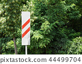 Road sign Approaching the railway crossing .approach signal to a railway crossing . 44499704