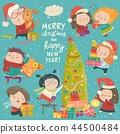 Happy cartoon children with Christmas decor. Merry Christmas 44500484