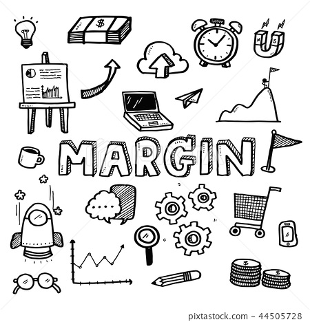 Business doodles margin on white background 44505728