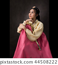 Beautiful Korean girl in Hanbok dress. 44508222