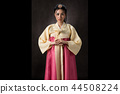 Beautiful Korean girl in Hanbok dress. 44508224