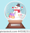 cute snowman with gift 44508231