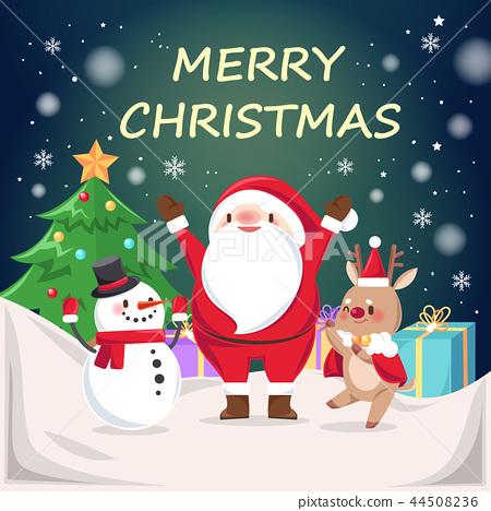 santa claus and reindeer 44508236