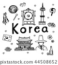 Doodle sketch travel and attraction of South Korea 44508652