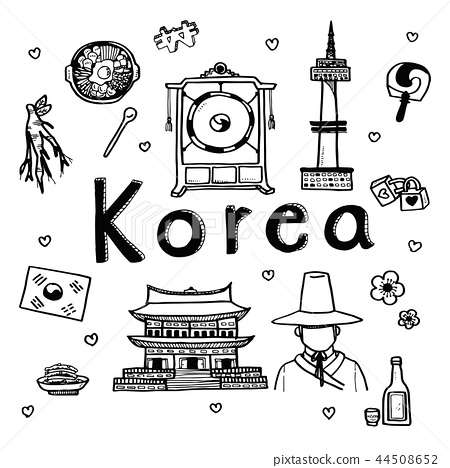 Doodle sketch travel and attraction of South Korea