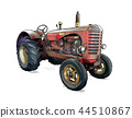 Cartoon or Comic Style Illustration of Old Red Tractor 44510867
