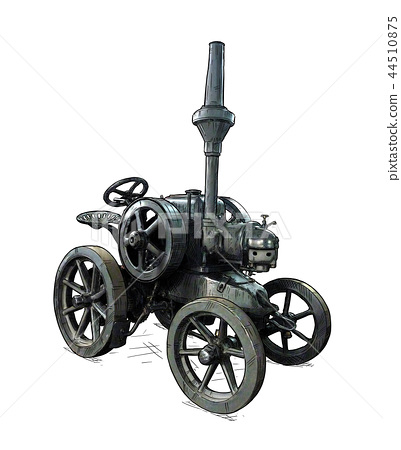 Cartoon or Comic Style Illustration of Old Vintage Tractor 44510875