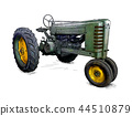 Cartoon or Comic Style Illustration of Old Green Tractor 44510879