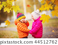 children throwing leaves in beautiful autumnal day 44512762