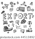 Hand draw export business doodles icon set 44513892
