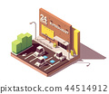Vector isometric supermarket car parking lot 44514912