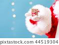 Santa holding a small Christmas gift 44519304